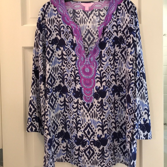 Lilly Pulitzer Tops - Lilly Pulitzer Silk Tunic Size L